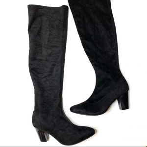 Eloquii sz 11W black faux suede over knee boots